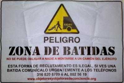 An educational poster about batidas/press gangs produced by ACOOC