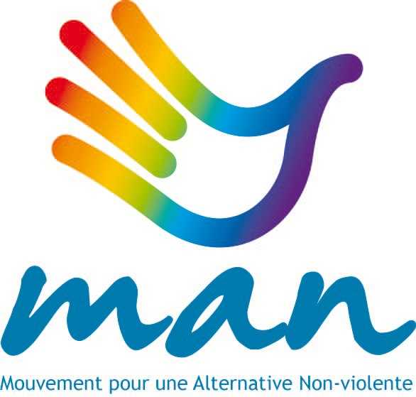 The Mouvement pour une alternative non-violente is a rainbow coloured dove