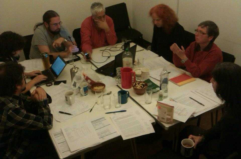 Hard at work: Exec meeting in Housmans' basement room, December 2012