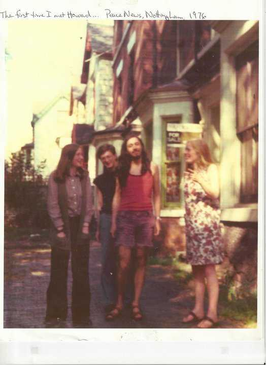 1976: outside the Peace News office in 8 Elm Avenue, Nottingham. People said he looked like a girl, so at the 40th Anniversary of PN he decided to wear a long skirt