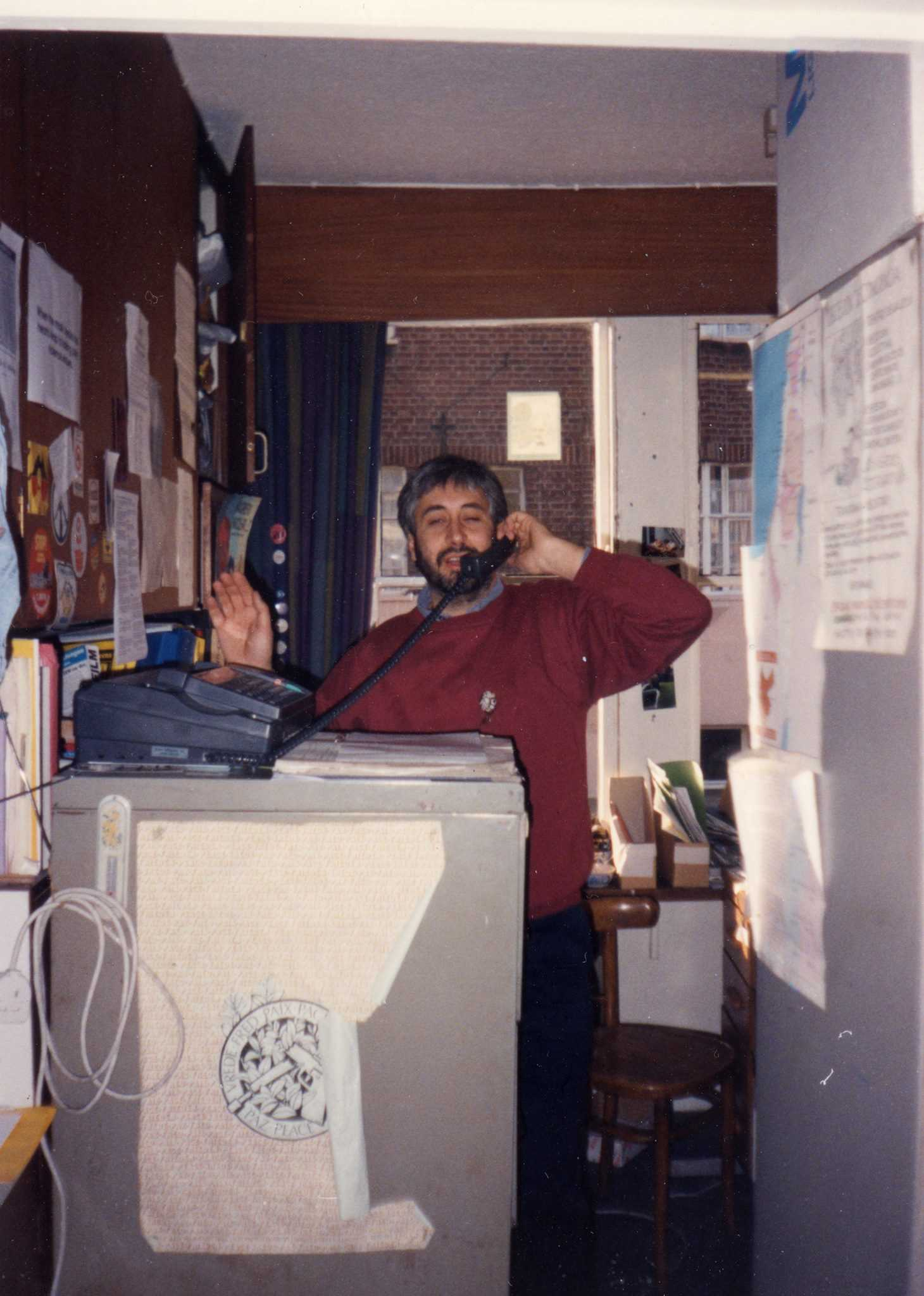 On the phone at 55 Dawes Street. Never let it be said that we put cleaning and tidying before nonviolent revolution