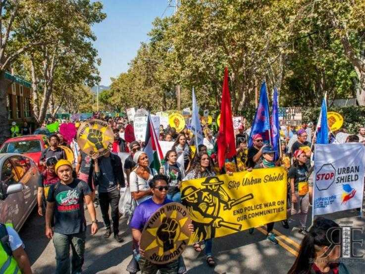A large protest march against the Urban Shield expo