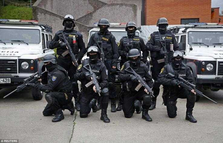 Heavily armed police in Bosnia