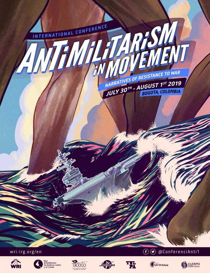 Antimilitarism in Movement poster designed by Juan David Caceres