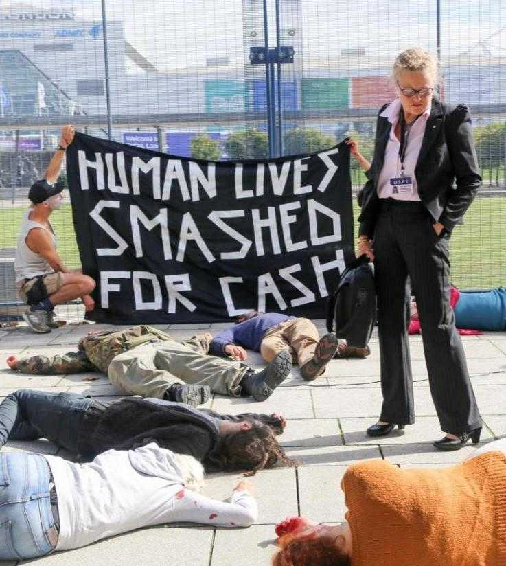 A die-in at DSEI 2017