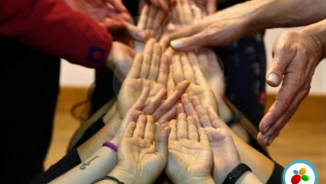 A picture showing hands of facing up