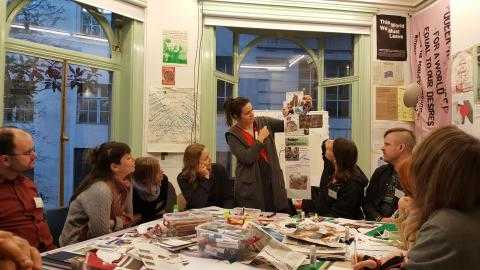 Activists from Europe at training on countering youth militarisation do a creative exercise