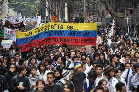Colombian student's demonstration