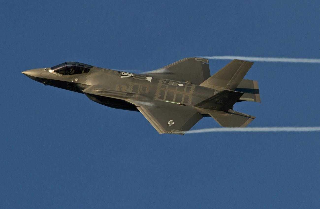 An F35 jet, that uses components made by Moog