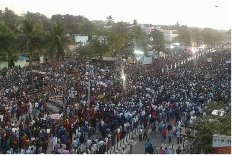Thousands of people march through Thoothukudi