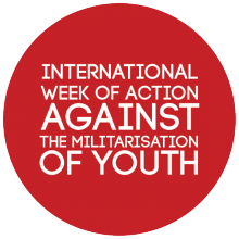 International Week of Action Against the Militarisation of Youth logo