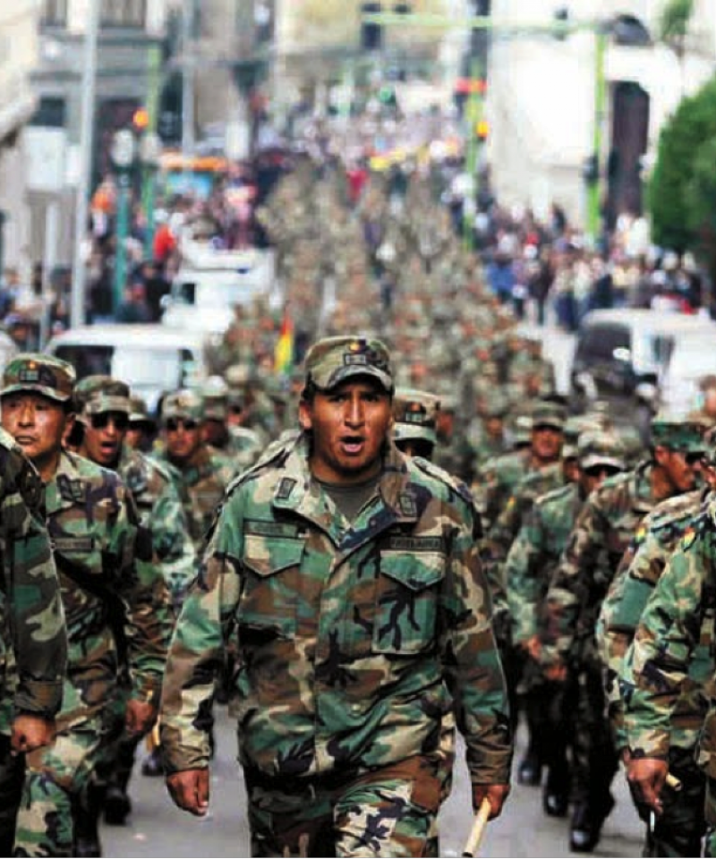Bolivia army marching