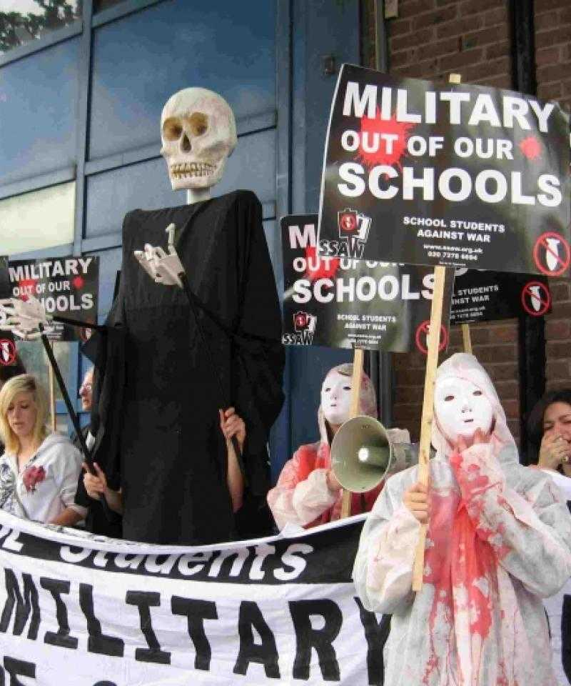 A protest against military presence at schools