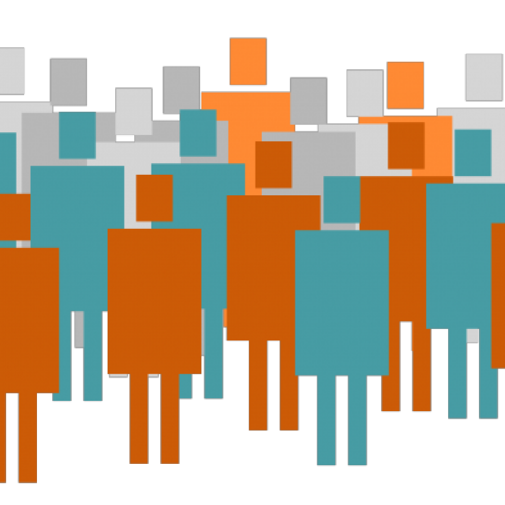 Picture of stick people with sixteen people highlighted