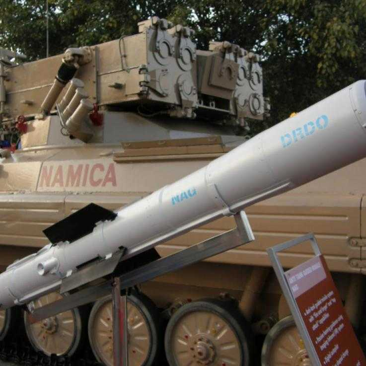 Nag missile and the Nag missile Carrier Vehicle (NAMICA) on display at DEFEXPO-2008 in Delhi. Credit: Ajai Shukla/Wikipedia. CC2.5