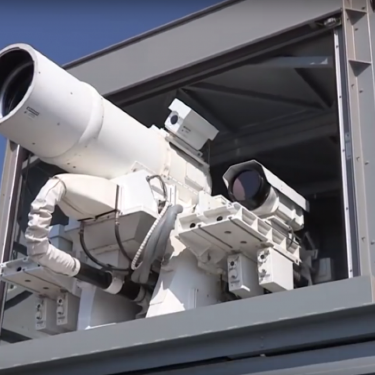 A laser system mounted on a ship
