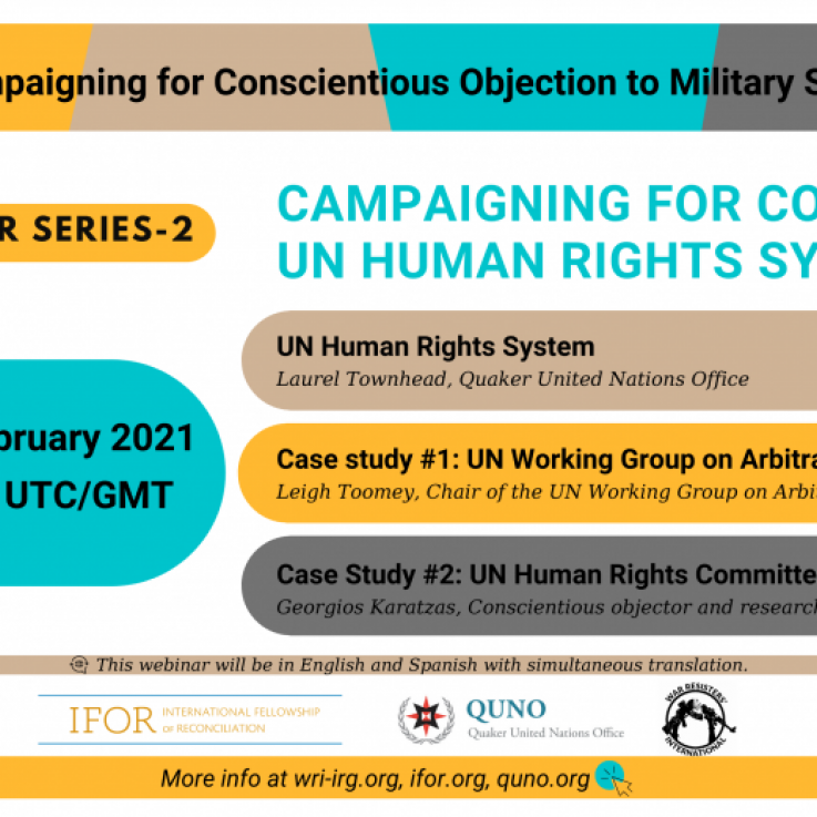 Poster for the Webinar: Campaigning for CO - UN Human Rights System