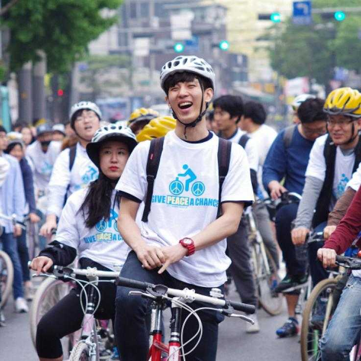Cycling action in Seoul for CO day. Photo: World Without War