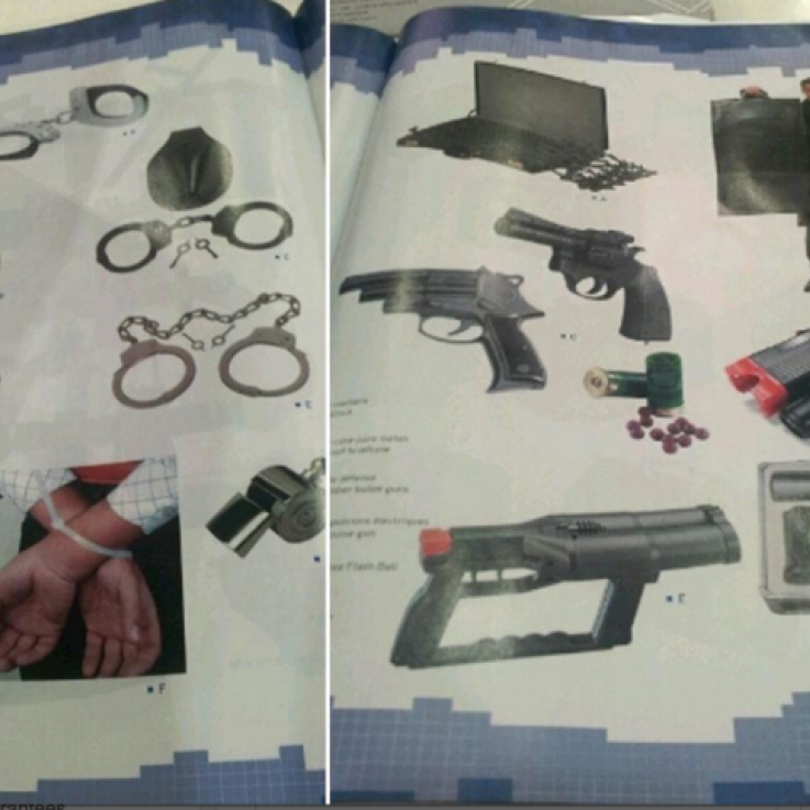 The marketing material uncovered at DSEI, displaying leg irons and electric stun guns